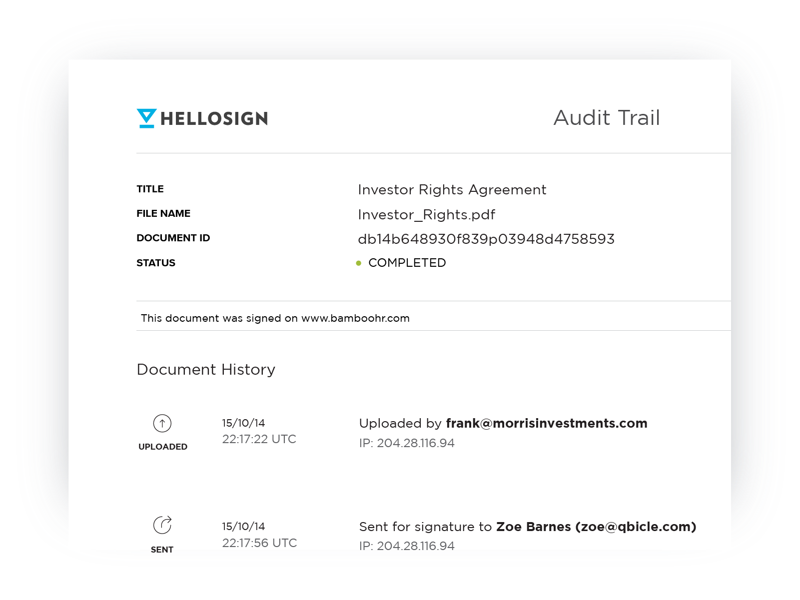 See an audit trail